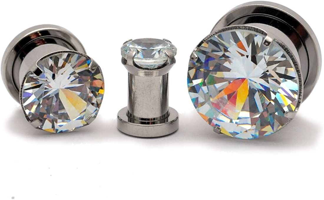 Mystic Metals Body Jewelry Pair of 316L Steel Screw on Plugs with Prong Set Clear CZ (PS-147)