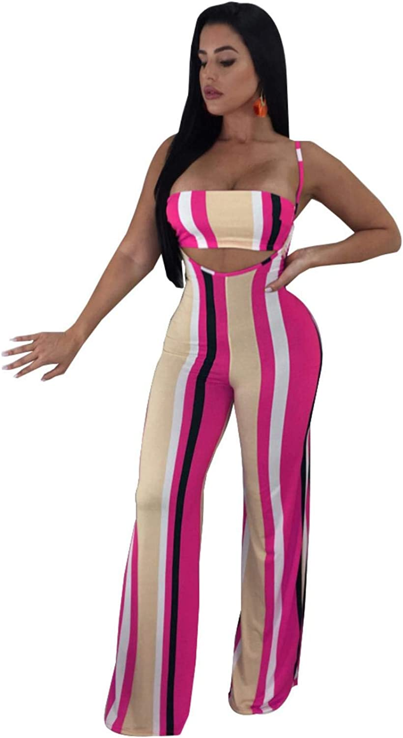 Two Piece Set Sexy Striped Strapless Spaghetti Jumpsuit