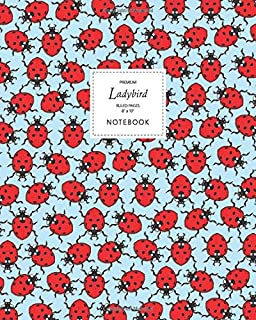 Ladybird Notebook - Ruled Pages - 8x10 - Premium: (Sky Blue Edition) Fun notebook 192 ruled/lined pages (8x10 inches / 20....