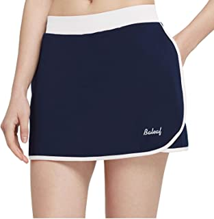 Baleaf Women's Athletic Tennis Skorts Running Golf Gym Skirts Side Pockets Navy/White S
