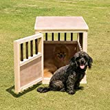 Dog Crate Kennel Bed Night Stand End Table Wood Furniture Living Room Medium Size Can Paint and Stain (26.3 in. L x 19.7 in. W x 21.6 in. H, Wood & Espresso)