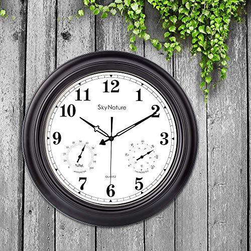 Große Außenuhr, 45 cm Gartenuhr mit Kombination aus Temperatur und Luftfeuchtigkeit, stille batteriebetriebene wasserdichte Uhr für Wohnzimmer, Terrasse, Garten, Pool (Metall, Mattschwarz)