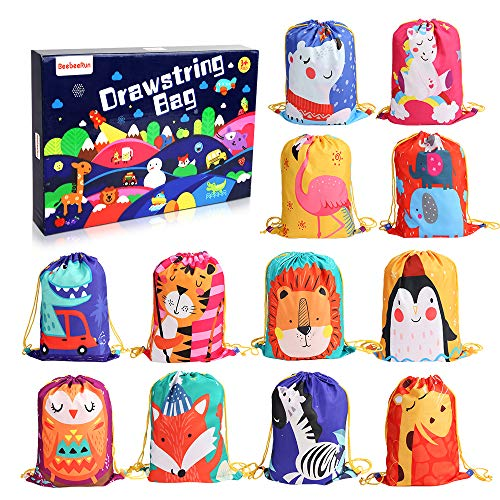 12 PCS Kids Party Favor Bags for Birthday Party Gift Package,Drawstring Goody Bag with Cartoon Animal Designed to Baby Boys and Girls