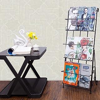 床边灯 北欧锻造铁制杂志架小册子显示为40x36x101cm支架便携式3层杂志小册子文学展览会展示台(Color : Brass)