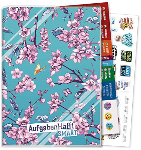 Häfft Smart Hausaufgabenheft A5 [Blumen] ohne Datum | Der Clou: immer sichtbarer Stundenplan! Inkl. Kunstoffumschlag + Sticker