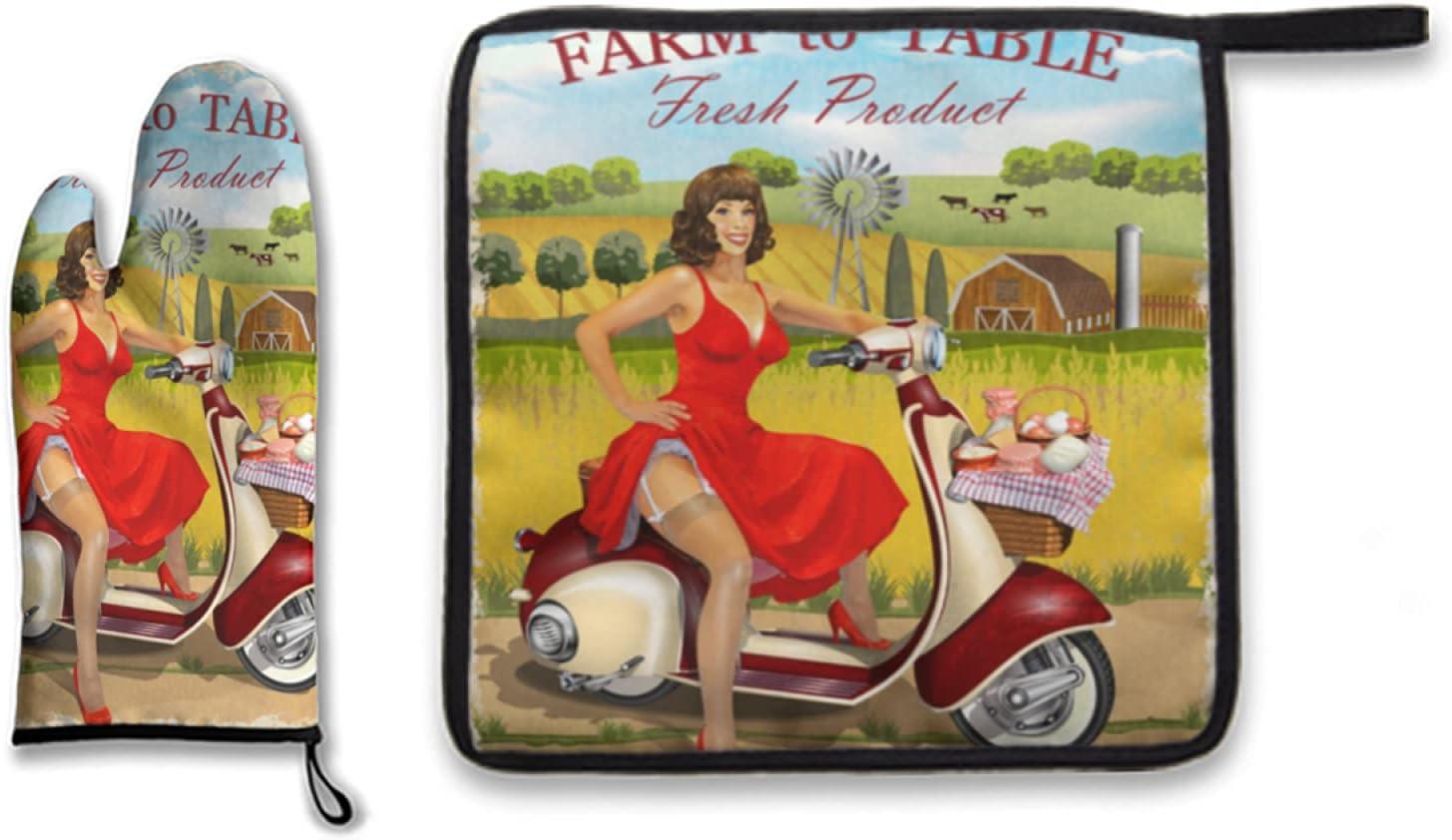Juego de 2 manoplas para horno y soportes para ollas, scooter antiguo con canasta de lácteos y póster fresco de granja vintage de pin up girl, guantes de cocina resistentes al calor seguros