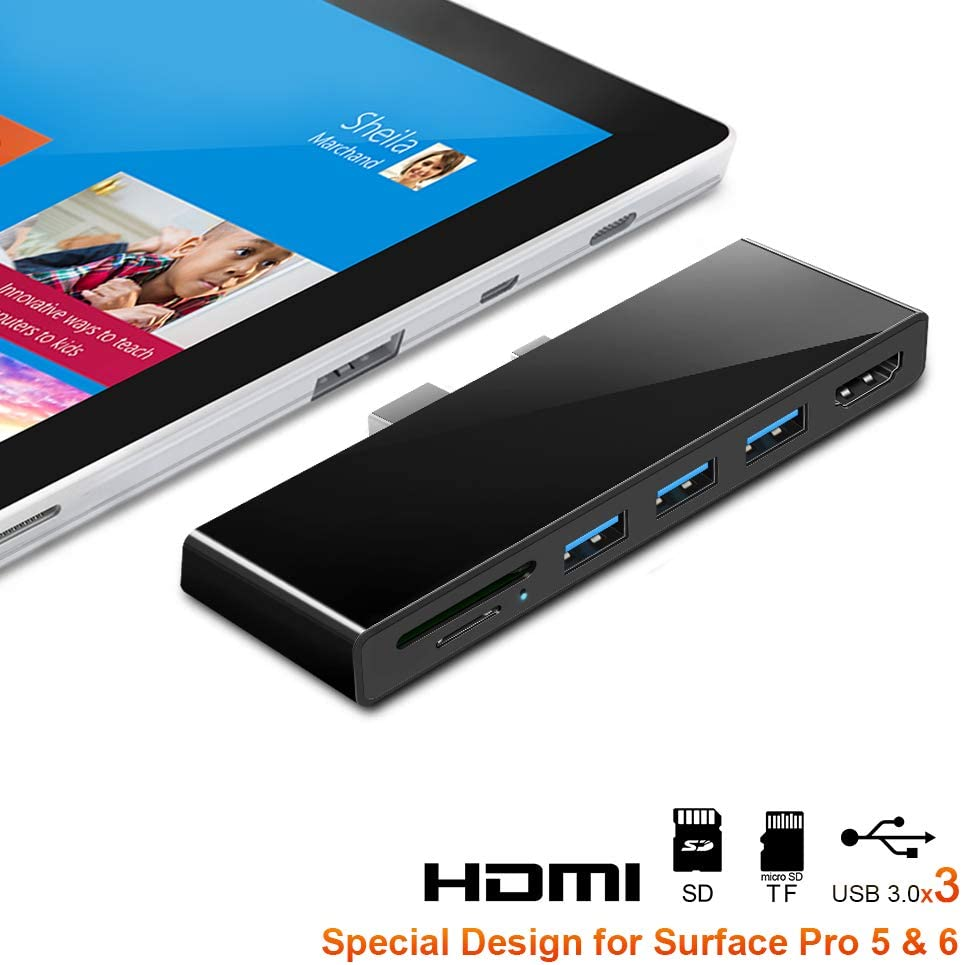 Surface Pro 4/Pro 5/Pro 6 Hub Docking Station with 4K HDMI Adapter +3 Port USB 3.0 (5Gps)+SD/TF(Micro SD) Card Reader Converter Combo Adaptor for Microsoft Surface Pro 2015/2017/2018