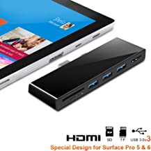 【Upgraded Version】Rocketek Microsoft Surface Pro 5/6 USB Hub Docking Station with 4K HDMI, High Speed 3 USB 3.0 Ports Transport, with SD (HC) Card Slot and TF Card Reader for Microsoft Surface Pro 5/6