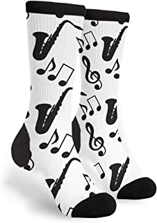 Musical Music Notes Treble Clef Saxophone Novelty Socks For Women & Men One Size - Gifts