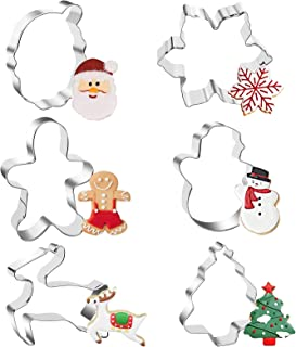 Christmas Cookie Cutters Set - 6 Piece Large Holiday Cookies Molds - Stainless Steel Biscuit Shape Mold for Baking Snowma...