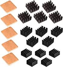 Easycargo 20pcs Raspberry Pi Heatsink Kit Aluminum + Copper + 3M 8810 Thermal Conductive Adhesive Tape for Cooling Cooler Raspberry Pi 4, Raspberry Pi 3 B+