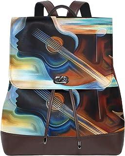 Mochila de piel con diseño abstracto de guitarra, de FANTAZIO