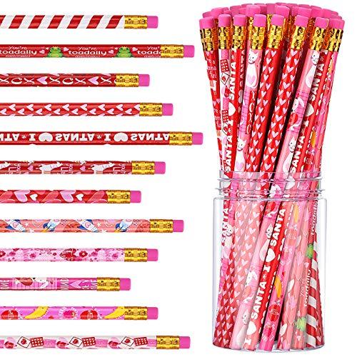 48 Lápices de San Valentín con Borrador Lápices de Madera de Colores Lápices de Dibujos Animados para Niños Fiesta Escolar Día de San Valentín Hogar