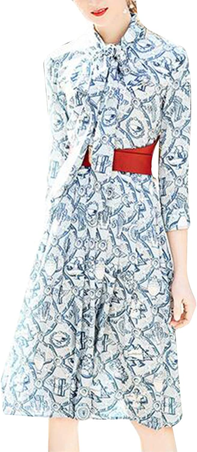 Bow Tie Neck Floral Print Aline Swing Mini Women 3 4 Sleeve Party Work Dress