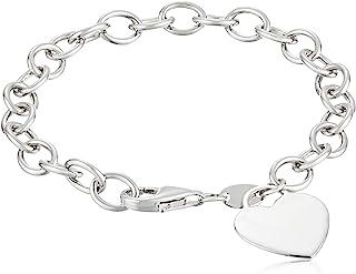 "Sterling Silver Heart Tag Bracelet, 7.5"""