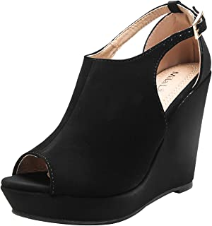 Lisa 2 Women's Platform Wedges Cutout Side Straps, Peep-Toe Ankle Bootie, Heeled Sandals