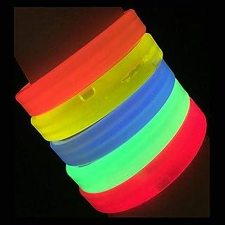"Glow Sticks Bulk Wholesale Wristbands, 25 9"" Triple-Wide Glow Bracelets, Assorted Bright Colors, Glow 8-12 Hrs, 25 Connect..."