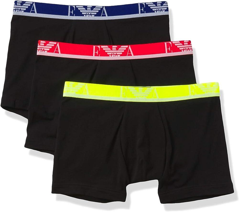 Emporio armani,3 paia di mutandine boxer per uomo, 95% cotone, 5% elastan, grb 1114731P71575735A