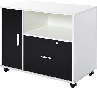 Homcom support d'imprimante organiseur bureau caisson placard porte, niche, tiroir verrouillable + grand plateau panneaux ...