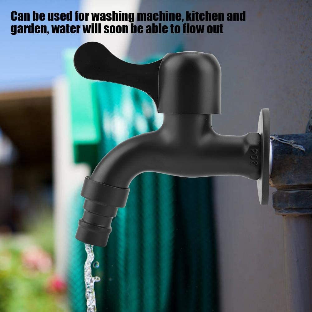 #1 Biuzi Water Faucet 1Pc 304 Stainless Steel Black Bathroom Water Faucet Wall Mount Anti-Explosion Anti-Freeze and Anti-Cracking Mop Pool Washing Machine Water Tap