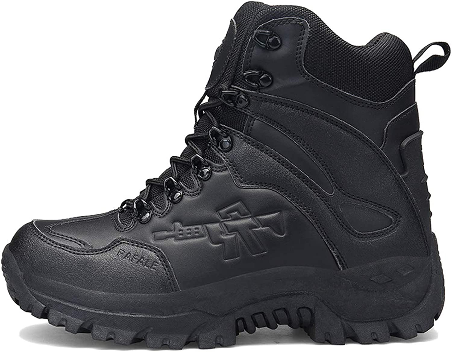 Mens Army Military shoes Patrol Leather Combat Boots Outdoor Desert Cadet Security Armed Jungle Lace Anti-Slip Footwear,Black,40