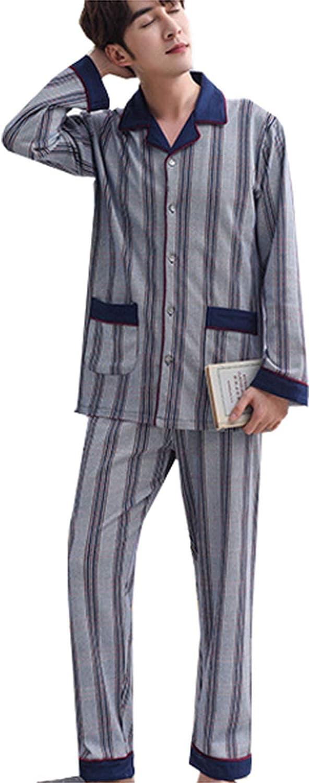 FMOGG Men's Pajama Set Long Sleeve Striped Sleepwear Lightweight Button Down Tops and Pants/Bottoms Classi Ccotton Loungewear Set Autumn and Winter Blue M-3Xl