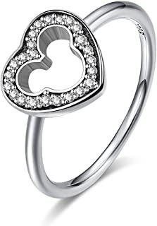 Twenty Plus Disney Mickey Silhouette Finger Ring with Clear CZ Jewelry Gifts for Girls & Women
