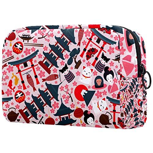 Japan Fortune Cat Fuji Kirschblüte Muster Make-up-Tasche Kulturbeutel für Frauen Hautpflege Kosmetik praktische Tasche Reißverschluss Handtasche