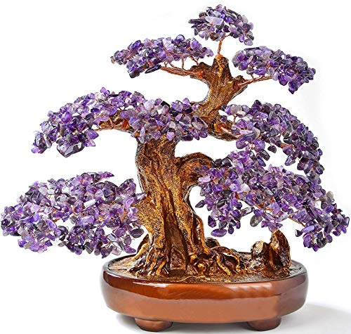 KALIFANO Natural Amethyst (1,251 Gemstone Count) Chakra Crystal Tree with Healing Properties - Bonsai Feng Shui Money Tree for Positive Energy, Luck and Wealth - 14'