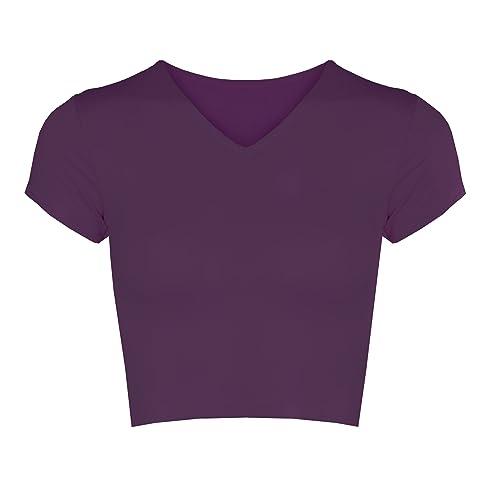 2a145f4dec6fb Re Tech UK Womens Ladies V-Neck Short Cap Sleeve Crop Top T-Shirt