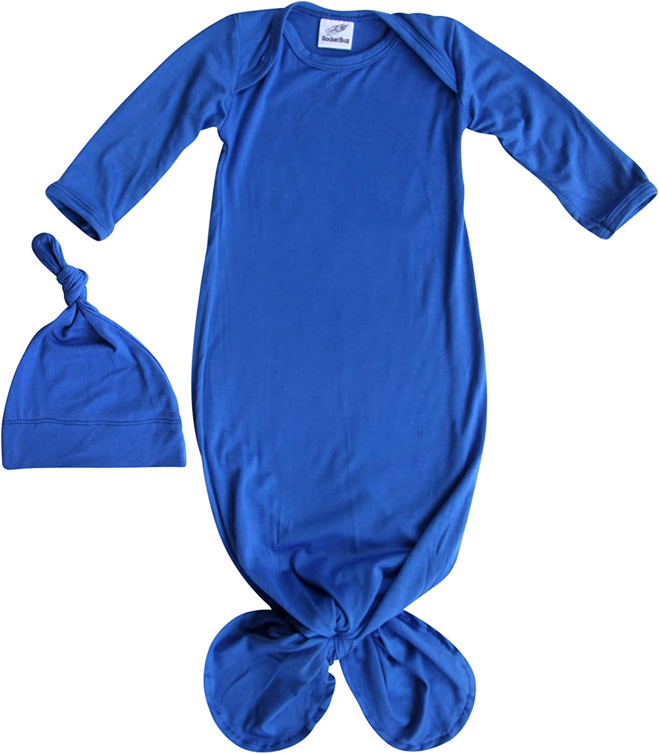 2021 Super special price Rocket Bug Plain Silky Knotted Gown Unise with Hat Baby