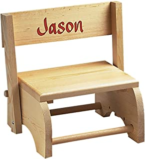 """Wooden Personalized Childrens Chair/Step Stool Combo – Childrens Furniture Ideal for Toy Room, Bedroom, or Bathroom – """"Knotty Pine"""" Wood"""
