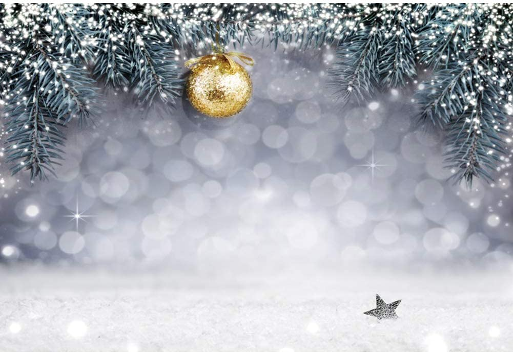 DaShan 6x4ft Polyester Merry Christmas New Year Bokeh Snow Winter Wonderland Frozen Baby Shower Backdrop Frozen Birthday Photography Background Baby Newborn Wall Decor Ski Party YouTube Photo Props