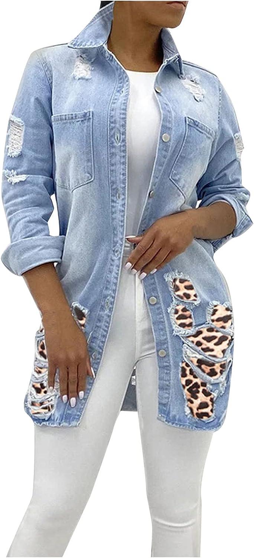 Women's Oversize Vintage Washed Denim Jackets Ladies Pockets Jacket Ripped Denim Blazers Coat Casual Jackets
