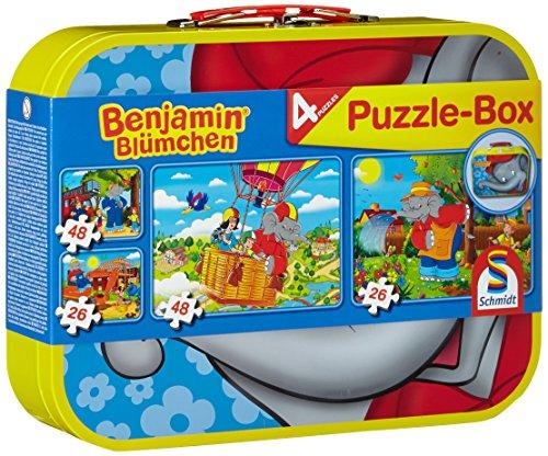 Schmidt Spiele 55594 Benjamin Blümchen, 4 Kinderpuzzle im Metallkoffer, 2x26 und 2x48 Teile