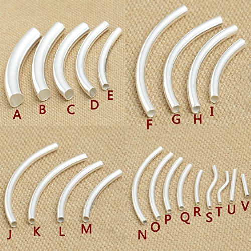 Luoyi Sterling Silver Curved Tube Beads (Y001G) (R: 1.515mm) (0.1g Tube)