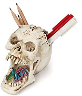 Chris.W Skull Pencil Holder Pen Cup Pins Paper Clips Organizer Skull Figurine Skeleton Statue for Scary Halloween Decorations