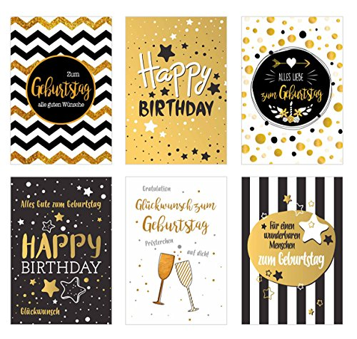 Edition Seidel Set 6 exklusive Premium Geburtstagskarten mit feiner Goldprägung und Umschlag. Glückwunschkarte Grusskarte Geburtstag Geburtstagskarte Mann Frau Karten Happy Birthday Billet Sprüche