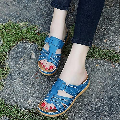ypyrhh Chanclas Mujer Verano,Zapatillas de Sandalia de Gran tamaño,Pendiente de Fondo Grueso con Sandalias de Playa-Azul_43,Zapatos de Playa y Piscina