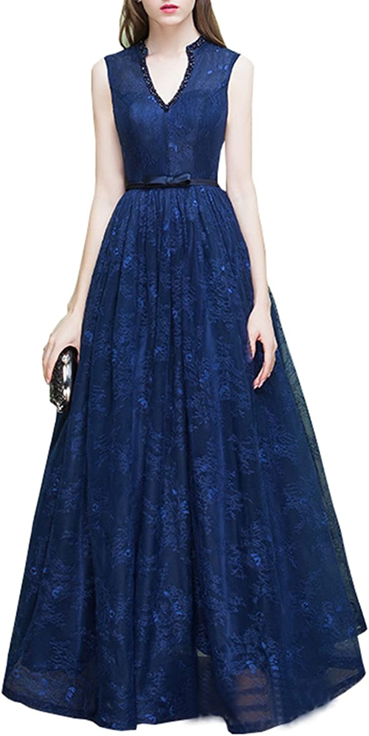LANG CAI NV MAO bluee Wedding Dress Elegant Stand Collars with Bead Lace V Neck Dress
