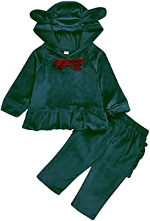 Baby Girls Clothes Long Sleeve Bow Velvet Hoodie Sweatshirt Tops+Ruffle Pants Outfits Set