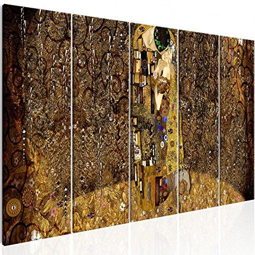 murando Cuadro en Lienzo Gustav Klimt Beso 200x80 cm Impresión de 5 Piezas Material Tejido no Tejido Impresión Artística Imagen Gráfica Decoracion de Pared Abstracto Oro l-A-0010-b-m