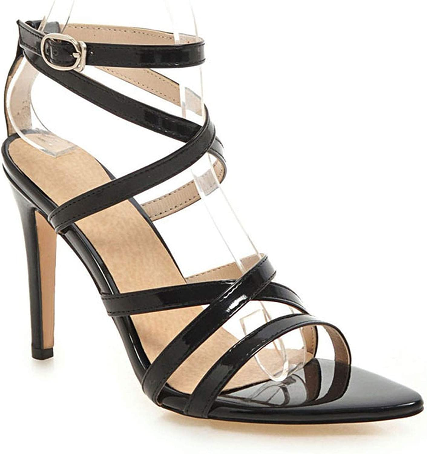 Gladiator Sandals Women High Heels Summer Sexy Buckle Pointed Toe Party shoes Thin Heels Sandalie