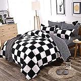 wuy Bedding Duvet Cover Set 3PCS Black White Soft Polyester Checkered Comforter Cover Set Zipper Closure Twin Size, 1 Duvet Cover ,2 Pillow