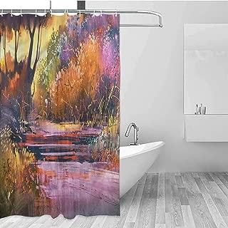 GloriaJohnson Landscape Rustic Shower Curtain Forest with Shrubs Virgin Cloth Fabric Bathroom Decor W72 x L78 Inch