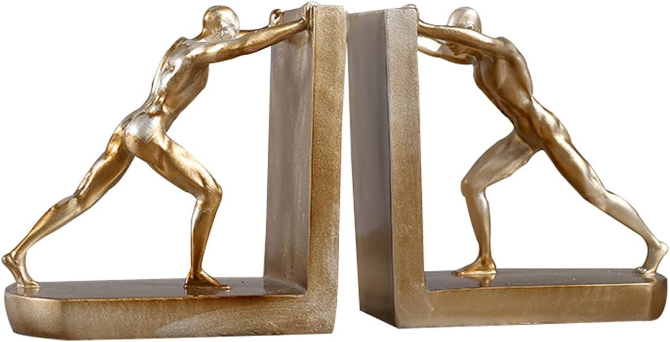 HUHAORAN2021 Art gift Sculpture Heavy-Duty Bookends Yellow Tucson Mall Golden Ful