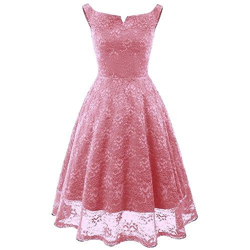 91a712c05e4d BestJuly Womens Lace Dress Sleeveless Boat Neckline Swing Vintage Overlay  Formal Dress for Women
