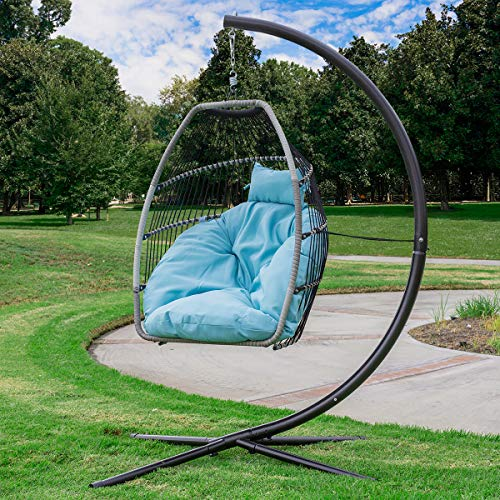 Barton Luxury Wicker Hanging Chair Swing Chair Patio Egg Chair UV Resistant Soft Deep Fluffy Cushion Relaxing Large Basket Porch Lounge (Blue)
