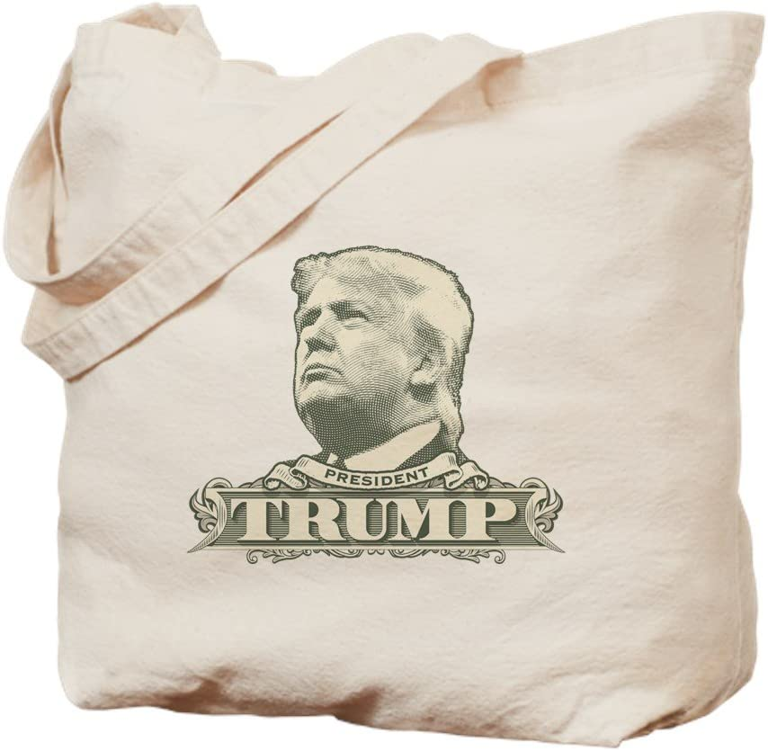 CafePress Donald Trump Dollar Bill Tote Bag Natural Canvas Tote Bag, Reusable Shopping Bag