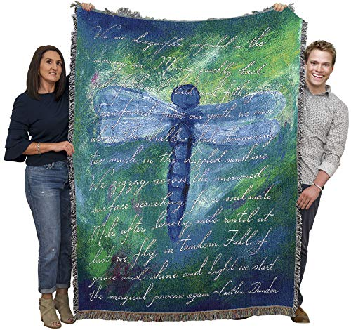 Dragonfly Poem Cotton Blanket